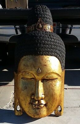Large Wood Carved Painted   Buddha Head