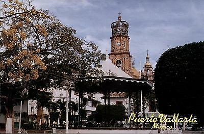 Mexico  -  Puerto Vallarta - The Plaza - Towers of Our Lady of Guadalupe Church