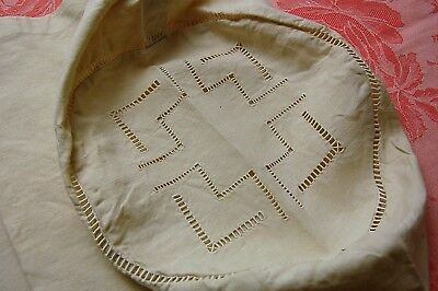 """Vintage French BOLSTER Pillow Case Cover PURE Floppy Linen Cream 50"""" XL UNUSED"""