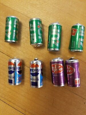 Vintage DR. PEPPER CHARMS set of 8 miniature soda can gumball vending prize 7UP