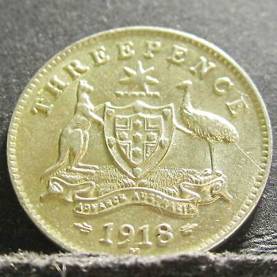 1918 Australia 3d Threepence ** ERROR DIE CRACK ** #PW1807-06 =HIGH GRADE=