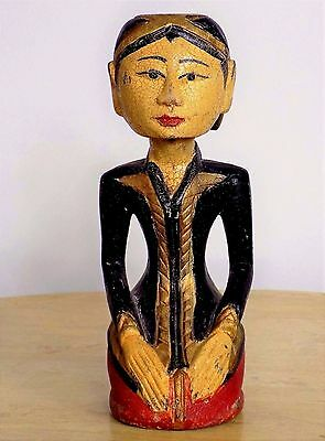 """10"""" Carved Wood Crackle Finish Sitting Asian Girl Statue"""