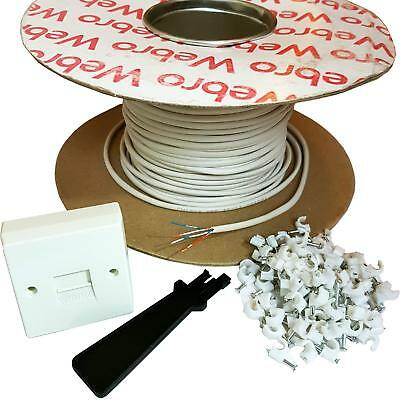 50M BT Telephone Master Socket/Box Line Extension Cable Kit - 25m 30m 40m Lead -