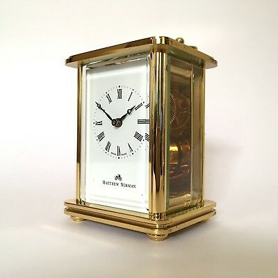 Matthew Norman London Solid Brass 8 Day Swiss Made Carriage Clock Beautiful