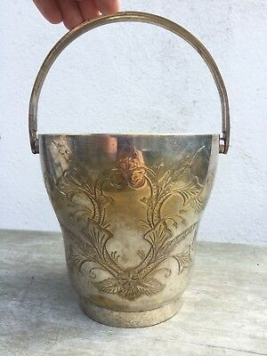 Vintage Silver Plated on Brass Flower Display Basket Pot Vase Ornate Engraved