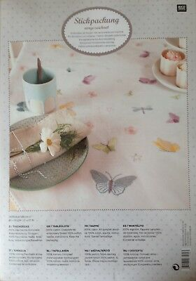 RICO Stencilled COTTON TABLECLOTH EMBROIDERY KIT Butterflies