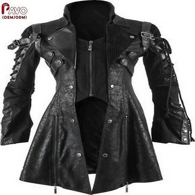 100% Genuine Leather Rugged Women Goth Jacket