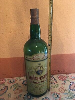 Vintage Advertising Display Liquor Glass Bottle Ambassador Deluxe Scotch