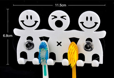 Home Bathroom Wall Mount Smile Face Toothbrush Suction Cups Holder StandRASK