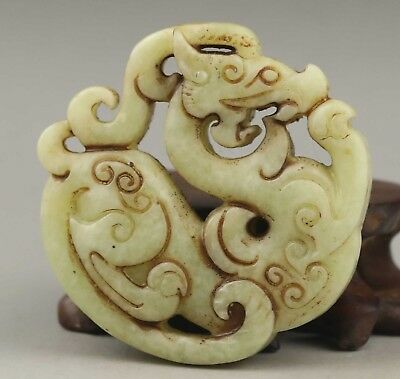 Chinese old natural  jade hand-carved dragon pendant 2.2 inch