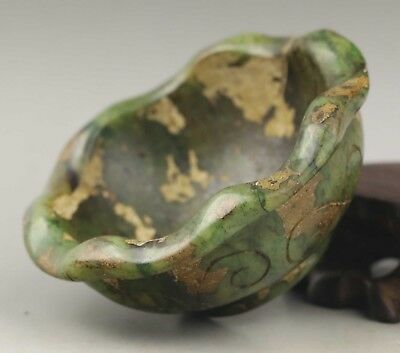 Chinese old natural jade hand-carved flower design brush washer statue 2.9 inch