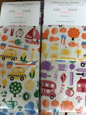 2 Sets Of Little Bird By Jools Oliver Pack Of 2 Jersey Fitted Cot Bed Sheets