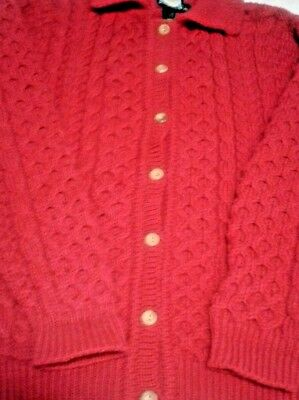 Cabela's 100% Wool  Fisherman Knit Cardigan. Cherry Red ,excellent Size Large