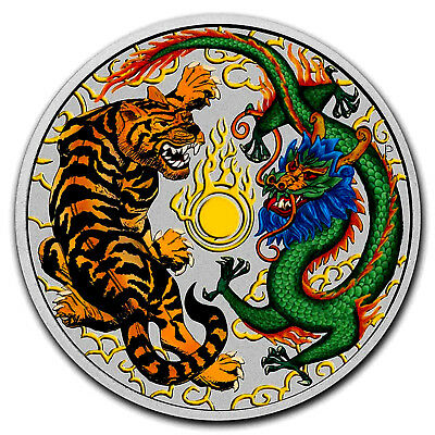 2018 Colorised Australian Tiger and Dragon 1oz .999 Silver Bullion Coin