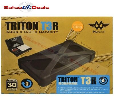 TRITON T3R 500g x 0.01g MY WEIGH Micro USB Rechargeable JEWELLERY Pocket Scales