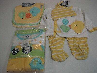 Gerber Baby Unisex 8 Piece Set Shower Gift Adorable Yellow NEW