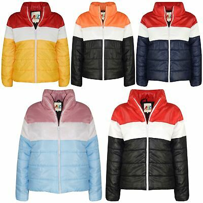 Kids Girls Boys Jackets Designer Contrast Panel Quilted Padded Warm Coats 5-13Yr