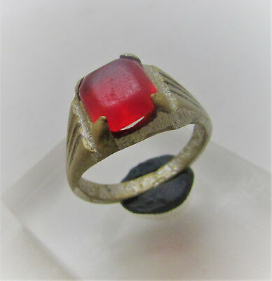Nice Post Medieval Bronze Ring With Stone Insert