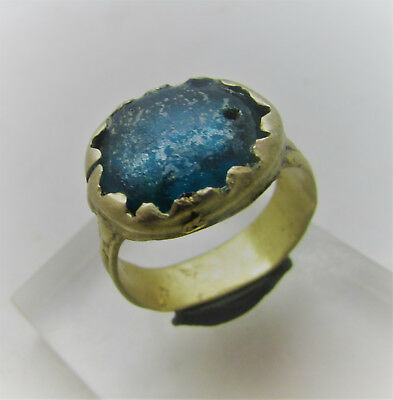 Nice Post Medieval Bronze Ring With Glass Insert