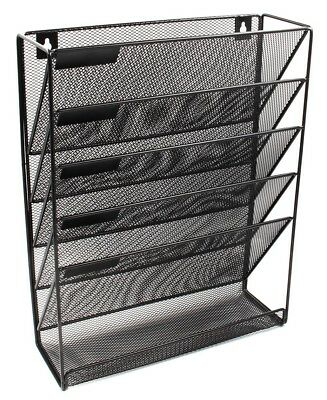 EasyPAG Mesh Wall Mounted File Holder Organizer Literature Rack 5 Compartments