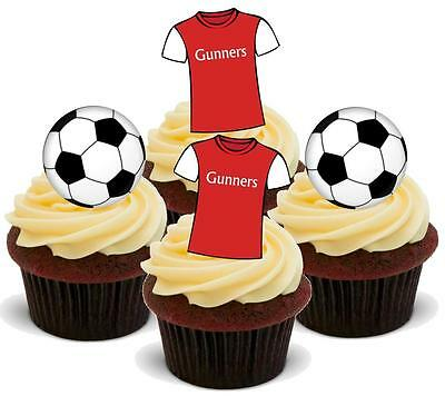 NOVELTY Football Arsenal Gunners Mix STAND UP Icing Edible Cake Toppers Birthday