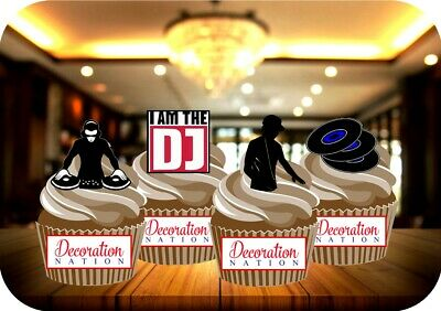 NOVELTY DJ Party Mix 12 - 48 VANILLA Cake Toppers Edible Icing Birthday Music