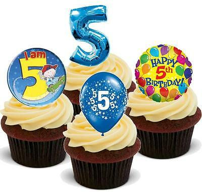 NOVELTY 5TH BIRTHDAY BOY PARTY MIX STAND UP / Icing Edible Cake Toppers 5 Five