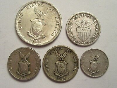 Lot of 5 Philippines Silver Coins, 1917 &1944 d 20c, 1945D 10c, 1938 & 1945 5c