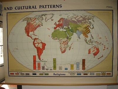 1st Edition 1967 DENOYER-GEPPERT Religion and Cultural Patterns World Wall Map