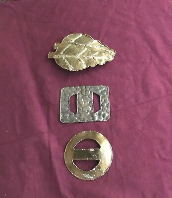 3 Vintage Belt Buckles, Brass and Silver