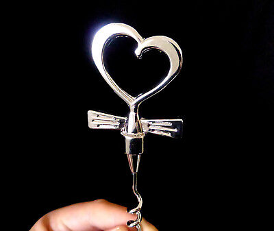 "4.75"" silver tone metal LOVE HEART design CORKSCREW WINE CHAMPAGNE BOTTLE OPENER"