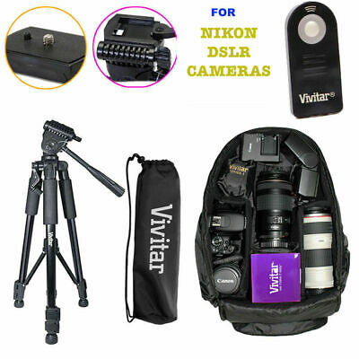 "52"" Pro Tripod+Vivitar Backpack Bag + Remote Kit For Nikon D3400 D5600 D7200 D90"