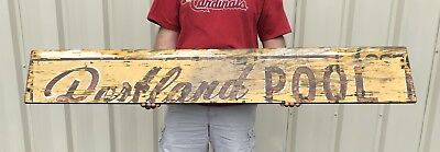 """Vintage Wood Painted Swimming Pool Sign 66x10 From St Paul Minnesota """"Portland"""""""