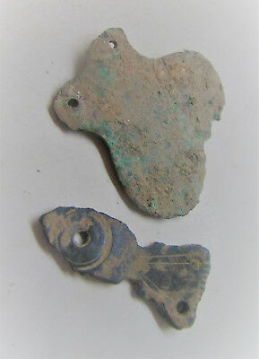 Circa 100-400Ad Finest Selection Of 2 Ancient Roman Amphora Shaped Strap Ends