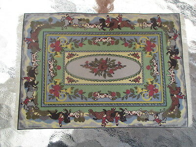 Dollhouse Miniatures ~ Mac Doc Design Rug on Leather - Equestrians Riding Horses