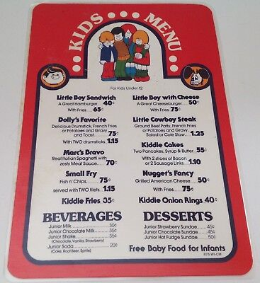 Kids Menu From Big Boy Restaurants, 1975, Kids Burger $.40.