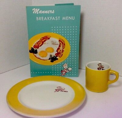 1950's Manners Big Boy Breakfast China Plate, Cup, And Matching Menu, Ohio