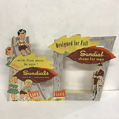 Vintage 1940's-50's 2 piece Sundial Men Kids shoes cardboard store dispaly Rare