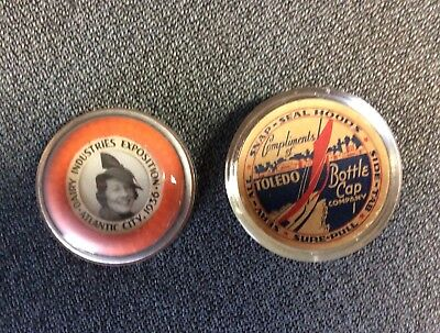 """Toledo Bottle Cap Co. Snap-Seal Hood 1936 Dairy Expo Paperweight Lady 2.75"""""""