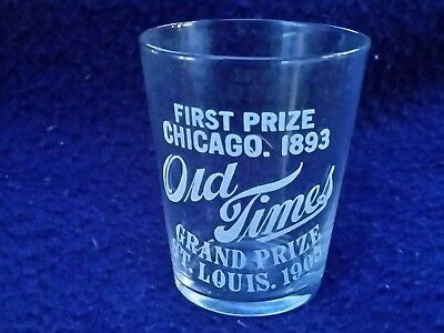 Pre-Prohibition Era Shot Glass Etched Old Times Whiskey
