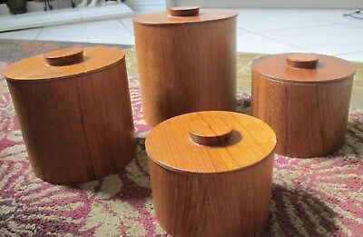 Set of 4 Viking Mid Century Modern Hand Made Teak Wood Kitchen Canisters EX CON