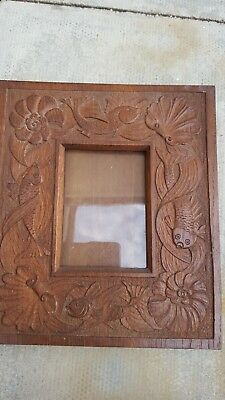Antique Arts And Crafts Newlyn Carved Wooden Picture Frame