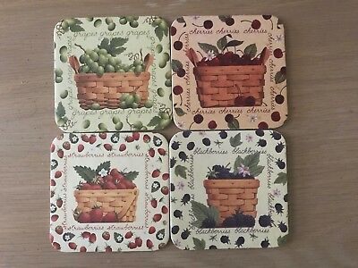 4 Longaberger Basket Coasters  Berries  Great Condition