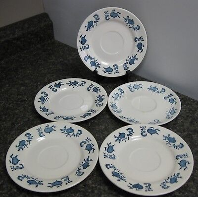 Vintage Blue Onion Saucers (5)No markings.Unknown maker.Good pre owned condition