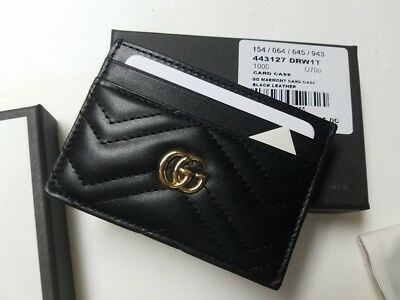 Gucci Signature Black GG Marmont Leather Ladies Card Case Card Holder