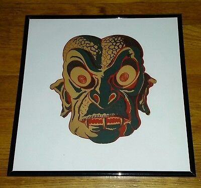 Vintage Framed 1950s Mexican Monster Paper Mask Ray Harryhausen Esque Kraken