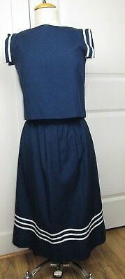 """Vintage Women's Navy White Striped Sailor Nautical Outfit 34"""" Top 28"""" Skirt"""