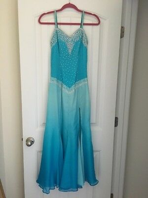 Blue Ballroom Smooth Competition Dance Dress Size XSmall / Small