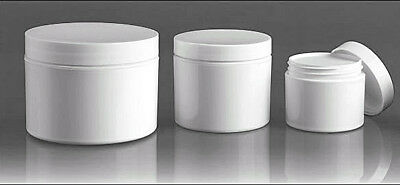 2 or 4 or 8 oz Short PET Plastic Amber Containers Jars w//Black Lined Cap