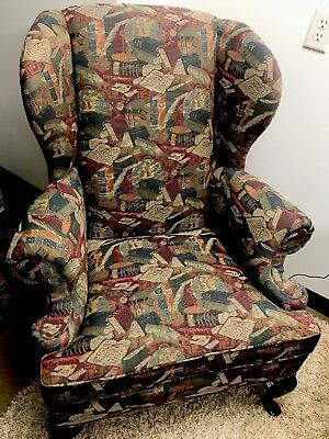 wing back book print chair slightly used